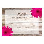 Pink Daisy Barn Wood Wedding RSVP Response Card Announcement