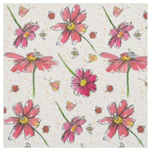 Pink Daisy Bees Ladybugs Fabric