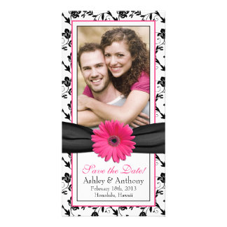 Pink Daisy Black Floral Ribbon Wedding Save Date Photo Card Template