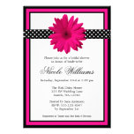 Pink Daisy Black Polka Dots Bridal Shower Personalised Announcement