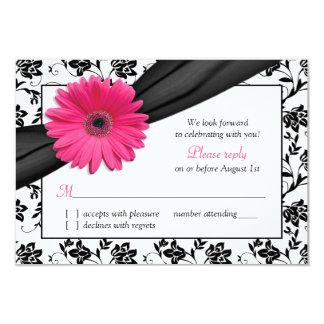 Pink Daisy Black White Floral Damask Wedding RSVP 9 Cm X 13 Cm Invitation Card