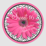 Pink Daisy Black White Floral Sweet 16 Birthday