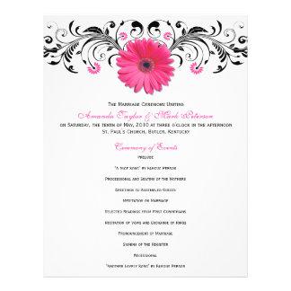 Pink Daisy Black White Floral Wedding Program 21.5 Cm X 28 Cm Flyer