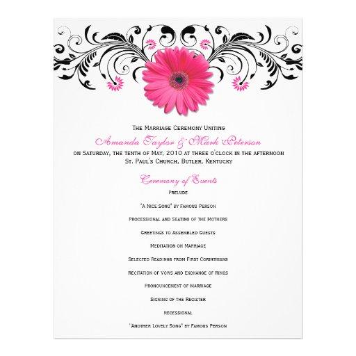 Pink Daisy Black White Floral Wedding Program Flyers