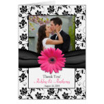 Pink Daisy Black White Floral Wedding Thank You