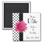 Pink Daisy Black White Polka Dot Save the Date