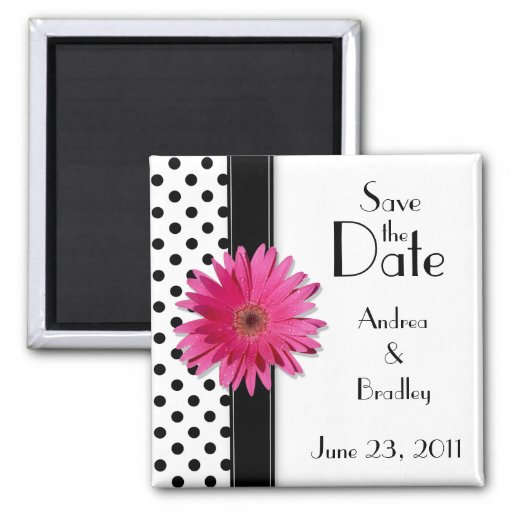 Pink Daisy Black White Polka Dot Save the Date Refrigerator Magnets