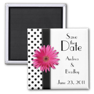 Pink Daisy Black White Polka Dot Save the Date Square Magnet