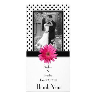 Pink Daisy Black White Polka Dot Wedding Photocard Photo Greeting Card