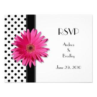 Pink Daisy Black White Polka Dot Wedding RSVP Personalized Invites