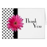 Pink Daisy Black White Polka Dot Wedding Thank You