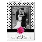 Pink Daisy Black White Polka Dot Wedding Thank You Card