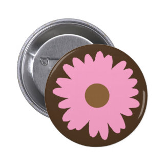 Pink Daisy Button Flair