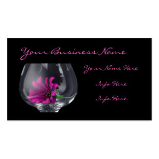 Pink Daisy Closeup In A Wine Glass Business Cards