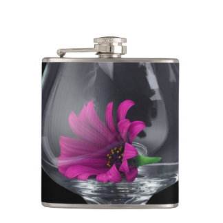 Pink Daisy Closeup In A Wine Glass Hip Flask