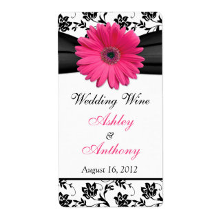 Pink Daisy Damask Wedding Wine Bottle Labels