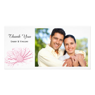 Pink Daisy Effect Floral Thank You Photo Card Template