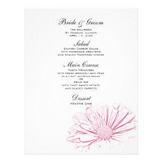Pink Daisy Effect Floral Wedding Menu 21.5 Cm X 28 Cm Flyer