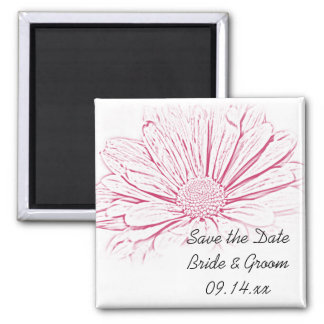 Pink Daisy Effect Floral Wedding Save the Date Square Magnet