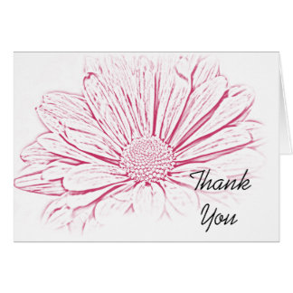 Pink Daisy Effect Wedding Bridesmaid Thank You Card