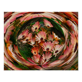 Pink Daisy Energies Floral Abstract Print