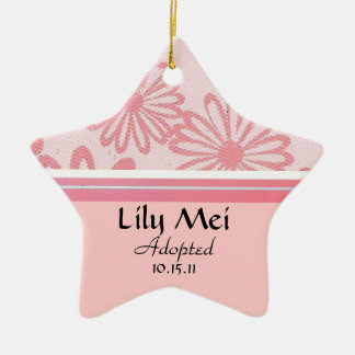 Pink Daisy Floral Adoption Announcement Ceramic Star Decoration