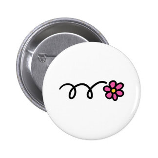 Pink daisy flower 6 cm round badge