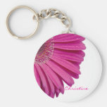 Pink daisy flower custom personalised girls name basic round button key ring
