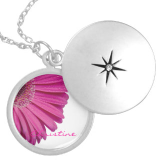 Pink daisy flower custom personalized girls name locket necklace