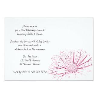 Pink Daisy Flower Effect Post Wedding Brunch Card