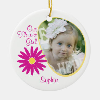 Pink Daisy Flower Girl Photo Christmas Ornament