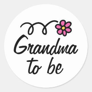 Pink daisy flower grandma to be sticker