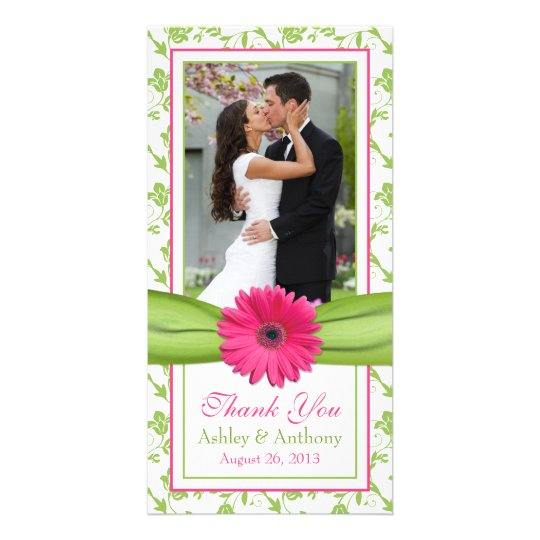 Pink Daisy Green Floral Ribbon Wedding Thank You