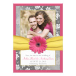 Pink Daisy Grey Yellow Damask Photo Save the Date Custom Invitations