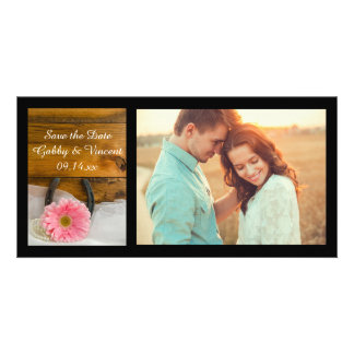 Pink Daisy Horseshoe Country Wedding Save the Date Custom Photo Card