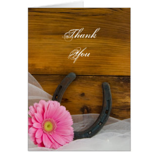 Pink Daisy Horseshoe Western Bridesmaid Thank You Card