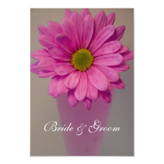 Pink Daisy in Vase Wedding Flat Note Cards
