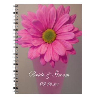 Pink Daisy in Vase Wedding Spiral Notebook