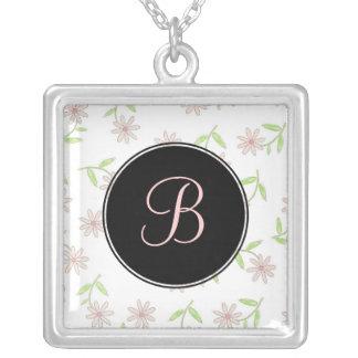Pink Daisy Monogram Necklace