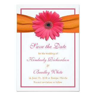 Pink Daisy Orange Ribbon Wedding Save the Date Card