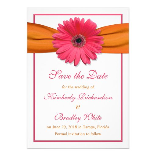 Pink Daisy Orange Ribbon Wedding Save the Date Personalized Invitation