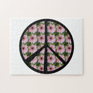 Pink Daisy Peace Sign Jigsaw Puzzle