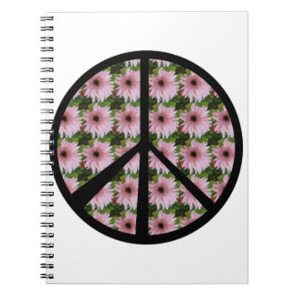 Pink Daisy Peace Sign Notebook