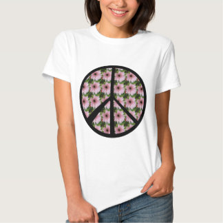 Pink Daisy Peace Sign Tee Shirts
