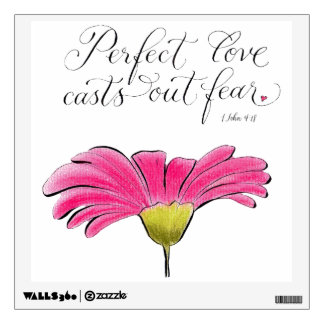Pink daisy Perfect Love typography verse