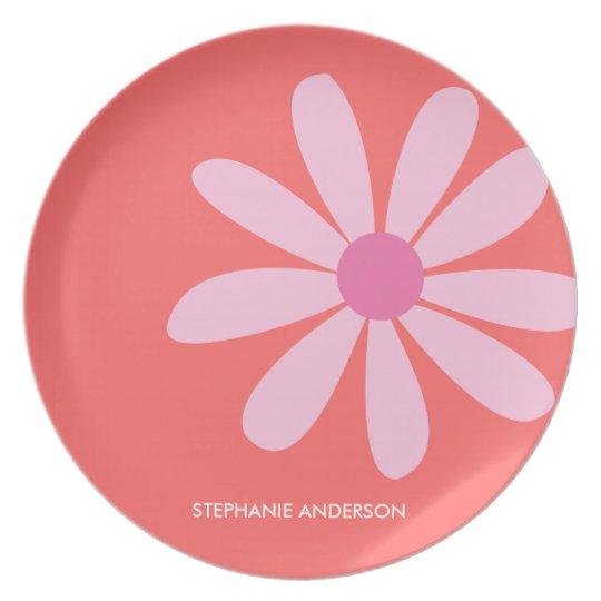 Pink Daisy Personalised Designer Dinnerware/Plate Plate