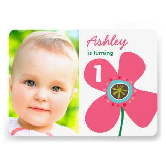 Pink Daisy Pop Cute Girl Photo 1st Birthday Invite