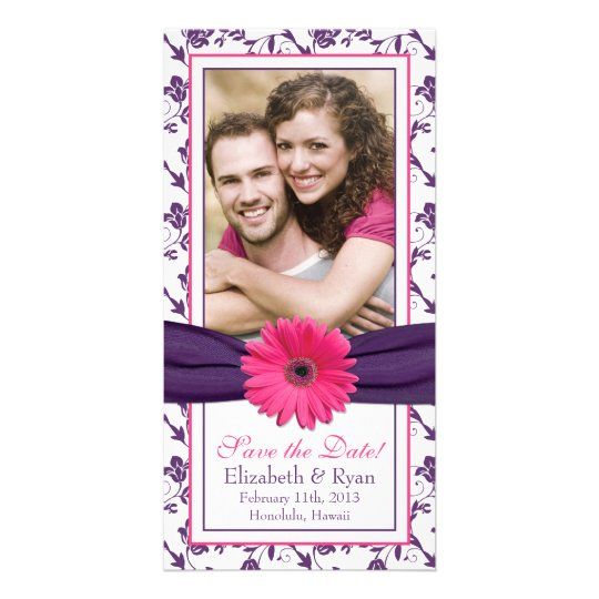 Pink Daisy Purple Floral Ribbon Wedding Save Date
