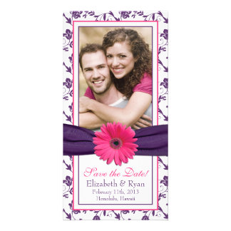 Pink Daisy Purple Floral Ribbon Wedding Save Date Photo Greeting Card