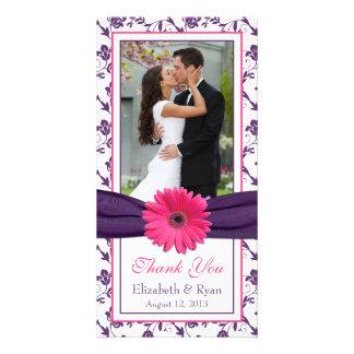 Pink Daisy Purple Floral Ribbon Wedding Thank You Photo Greeting Card